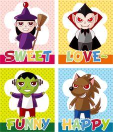 Free Cartoon Halloween Card Stock Image - 21141001