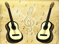 Free Background With A Guitar Royalty Free Stock Photography - 21141457