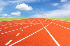 Free Running Track With Sky And Clouds Stock Images - 21141734