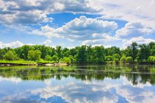 Clouds Reflection On Lake. Stock Photo
