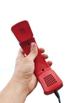 Free Red Old Telephone In Hand Stock Photography - 21142352