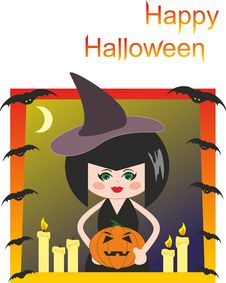 Witch, Pumpkin, Candles And Bats. Halloween Stock Images