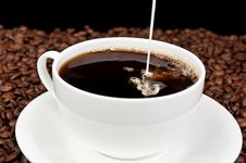 Free Coffee With Milk And Coffee Beans Stock Photos - 21142553