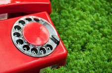 Free Red Phone On Green Grass Stock Photos - 21142603