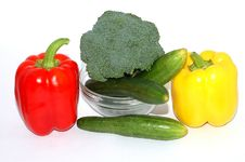 Pepper Cucumber And Green Cabbage Stock Photo
