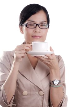 Free Asian Woman Drinking Coffee Royalty Free Stock Photography - 21142957