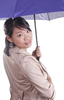 Free Stylish Woman Holding Umbrella Royalty Free Stock Image - 21142966