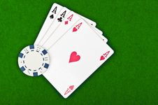 Free Four Aces And Poker Chips Stock Image - 21143081