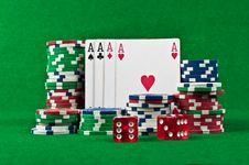 Free Four Aces And Poker Chips Stock Images - 21143334