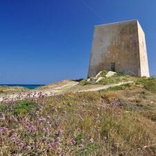 Lookout Tower Of The Coast Of Gargano. Stock Photography