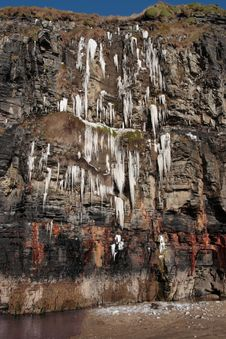 Melting Cascade Of Icicles On A Cliff Face Stock Photography
