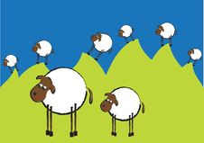 Free Funny Illustration Of Flock Of Sheep On The Hills Royalty Free Stock Photo - 21143815