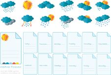 Free Creative Card With All Meteorology Symbols Stock Image - 21143991