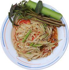 Free Green Papaya Salad,thailand Royalty Free Stock Image - 21144796