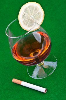 Free Cognac With Lemon Stock Image - 21144941
