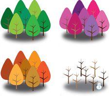 Free Four Season Trees Royalty Free Stock Image - 21148436