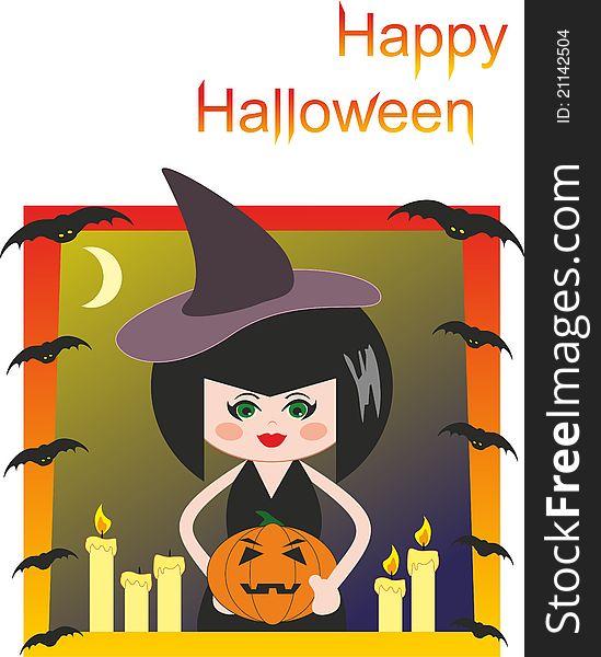 Witch, pumpkin, candles and bats. Halloween