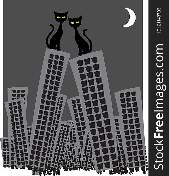 Two cats on the skyscrapers roof in love watching