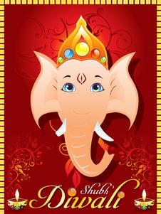 Free Abstract Diewali Greeting Card With Ganesh Ji Stock Images - 21150574