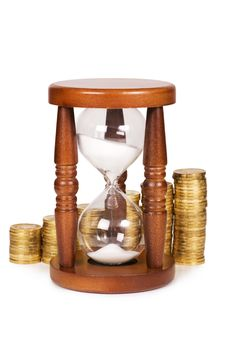 Free Hourglasses And Coin Stock Photography - 21150712