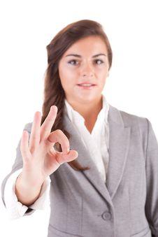 Free Business Woman Signalling Ok Stock Photo - 21151170