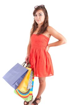 Free Young Woman With Shopping Bags Royalty Free Stock Photo - 21151235