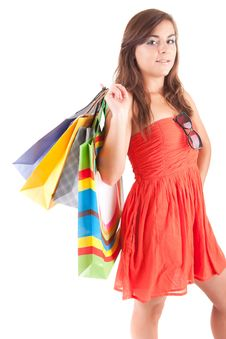 Free Young Woman With Shopping Bags Stock Images - 21151244