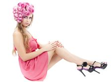 Free Young Beautiful Woman With Pink Flowers Royalty Free Stock Image - 21151996