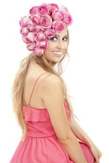 Free Young Beautiful Woman With Pink Flowers Stock Photography - 21152022