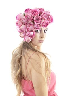 Free Young Beautiful Woman With Pink Flowers Stock Photos - 21152033