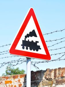 Free Train Line Crossing - Road Sign Royalty Free Stock Photo - 21152665