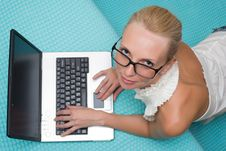 Free Woman In Glasses With Laptop Royalty Free Stock Photo - 21153725