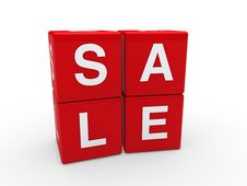 3d Sale Cube Red Stock Photos