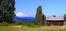 Free Mount Adams With Red Barn Stock Photography - 21154222