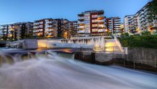 Free Building Complex And River In  Norway Royalty Free Stock Image - 21154306