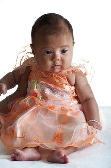 Free Baby In Cute Dress Royalty Free Stock Photo - 21154465