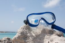 Free Diving Goggles On The Rock Royalty Free Stock Image - 21155676