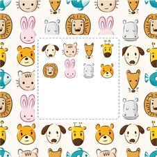 Free Cartoon Animal Head Card Royalty Free Stock Images - 21156679