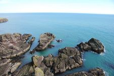 Rocky Shore At Dunnottar Castle Royalty Free Stock Photography