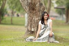 A Portrait Of A Beautiful Young Asian Woman Stock Image