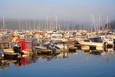 Free Boat Harbor In Foggy Morning Royalty Free Stock Image - 21158036