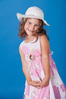 Free Fashion Little Girl Studio Series Over Blue Stock Images - 21158254