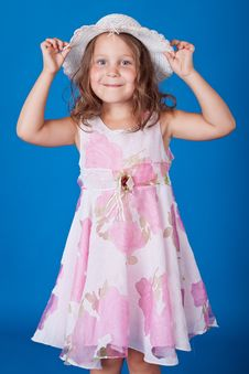 Free Fashion Little Girl Studio Series Over Blue Stock Photo - 21158280