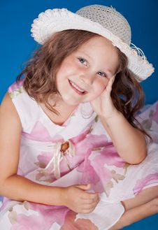 Free Fashion Little Girl Studio Series Over Blue Stock Photos - 21158303