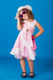 Free Fashion Little Girl Studio Series Over Blue Stock Image - 21158411