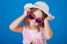 Free Fashion Little Girl Studio Series Over Blue Royalty Free Stock Photography - 21158437