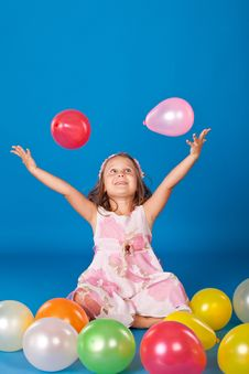 Free Fashion Little Girl Studio Series Over Blue Stock Image - 21158501