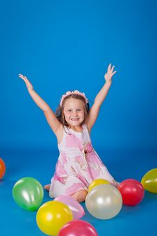 Free Happy Child With Colorful Air Ballons Over Blue Stock Image - 21158591