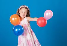 Free Happy Child With Colorful Air Ballons Over Blue Royalty Free Stock Images - 21158739