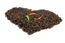 Free Coffee Heart With Chilli Stock Photography - 21158862
